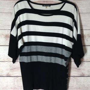 Cable and gauge scoop neck striped sweater sz XL